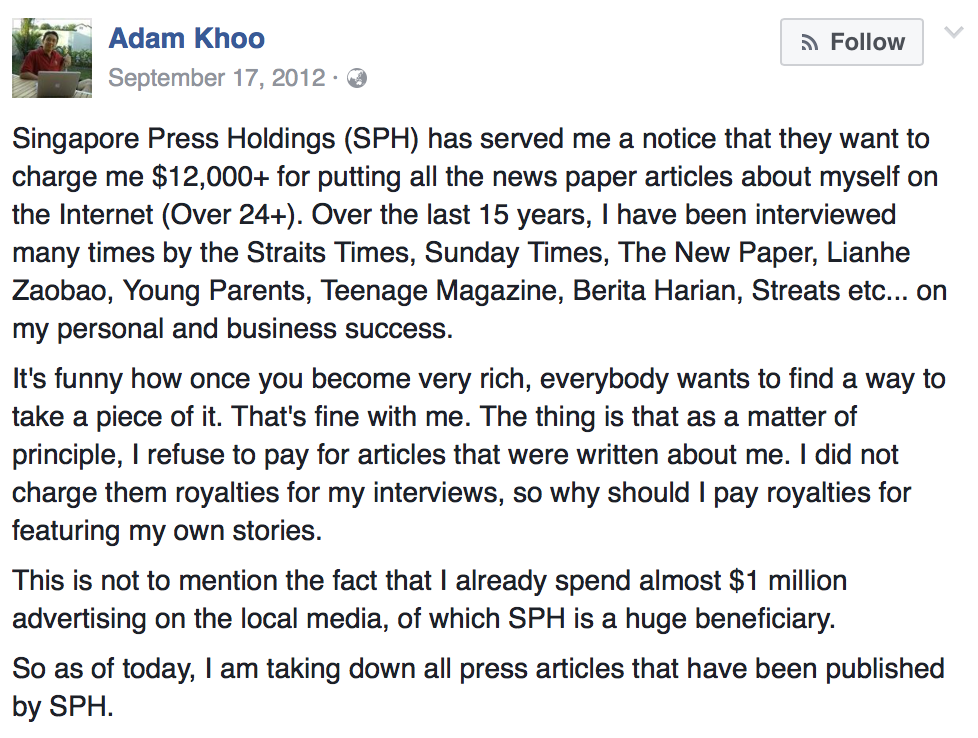Adam Khoo's statement on SPH