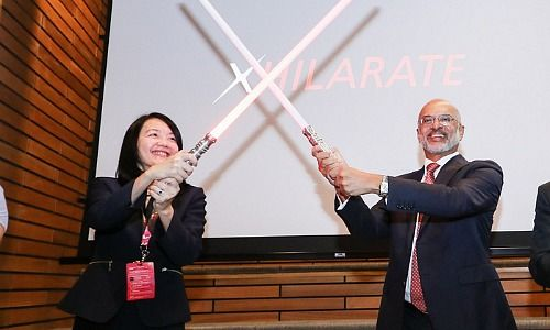 Deputy Director of the Monetary Authority of Singapore (MAS) Jacqueline Loh and DBS CEO Piyush Gupta