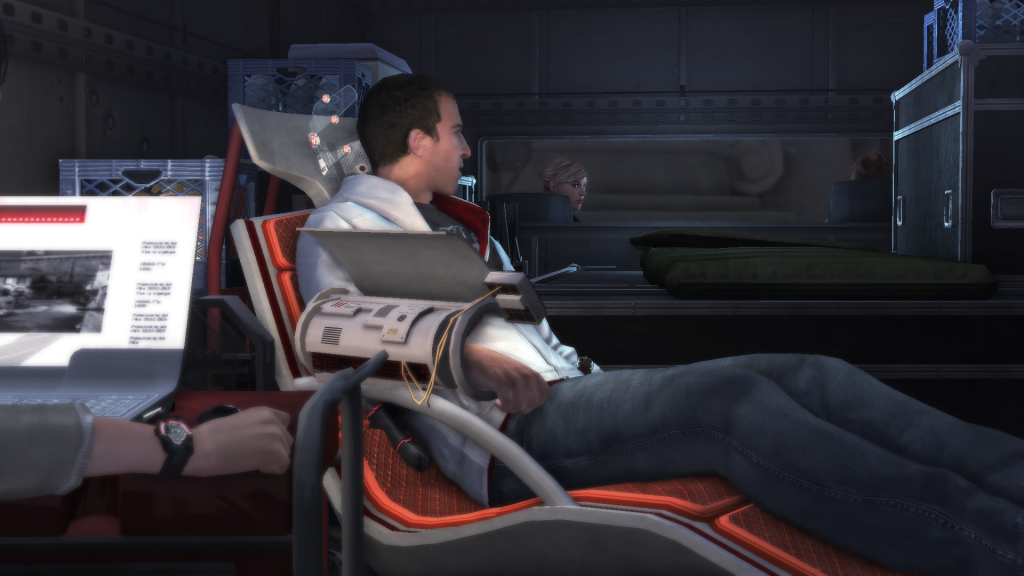 Look he actually has a comfy chair while he goes back meddle in history. (Image Credit: Assassin's Creed Wiki)