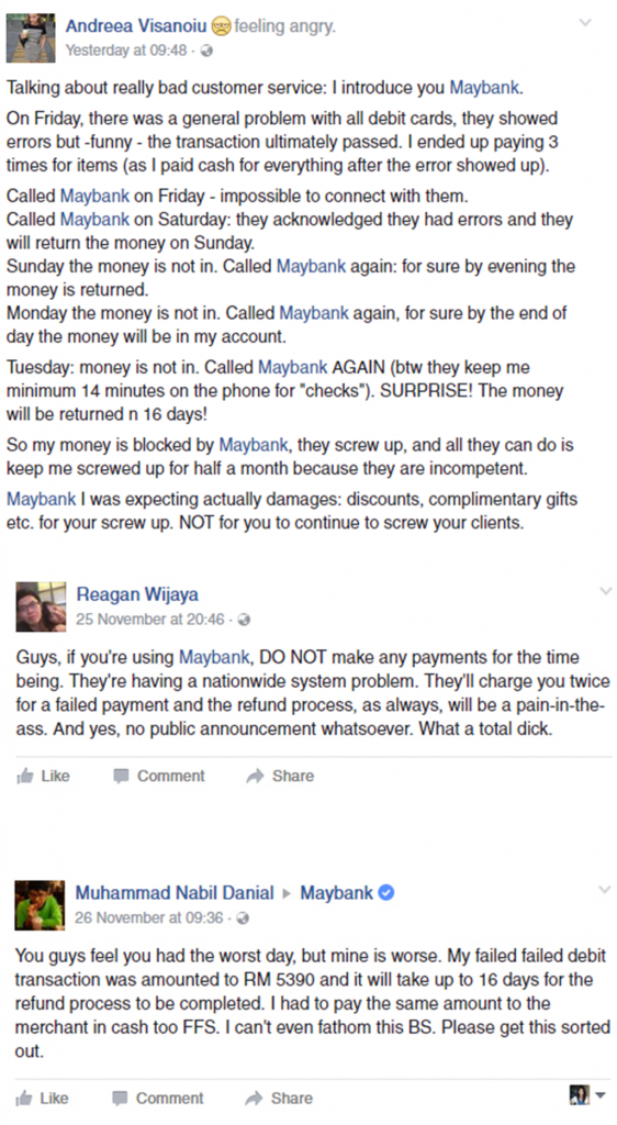 Screenshots from Maybank Facebook.