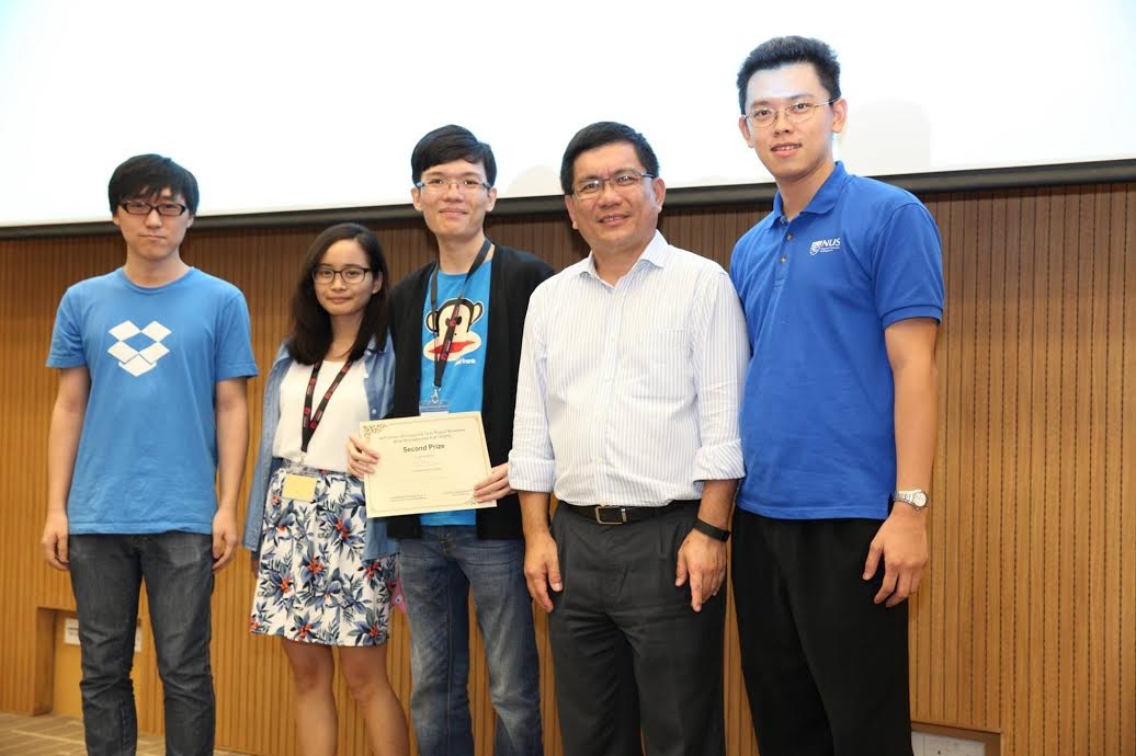 Yichen, Erin and Melvin (L-R) receiving the Second Prize award during the term project showcase / Image Credit: NUSWhispers