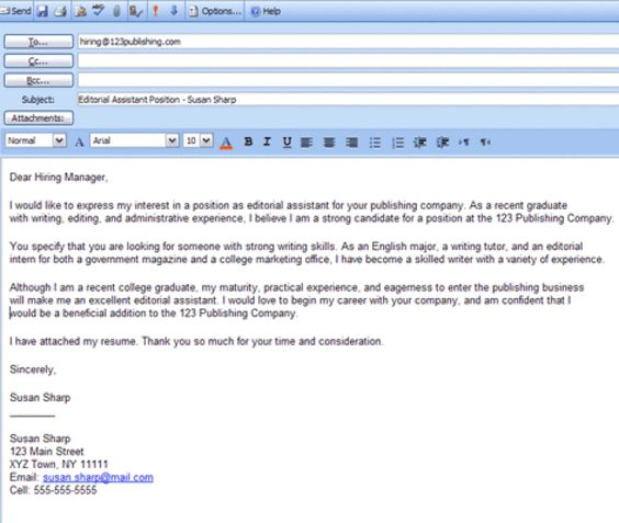 Charming As For An Email With A Cover Letter: On What To Write When Emailing A Resume