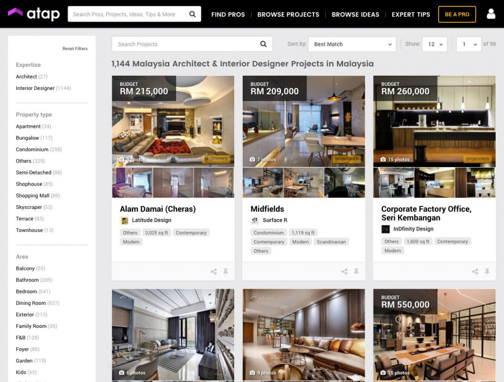 Property Owners Can Use Atap.co To Browse Through Available Interior  Designers And Find Themselves A Right Fit For Their Project / Image Credit:  Atap.co