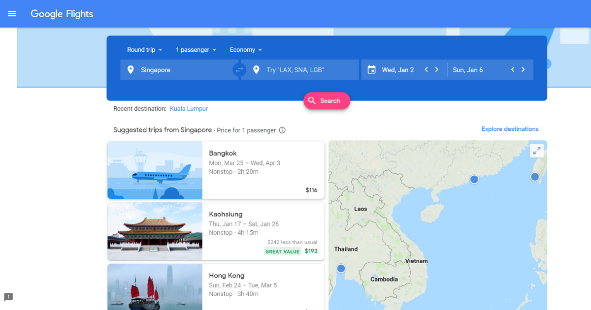 Google Flights Singapore Lets You Search, Compare, And Track ...