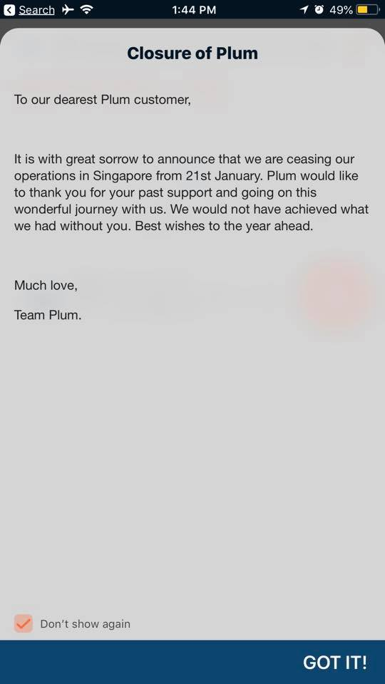 plum singapore closure