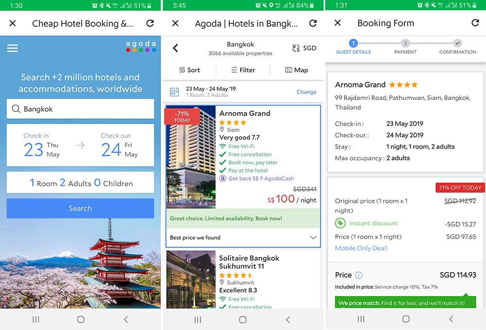 grab hotel booking agoda
