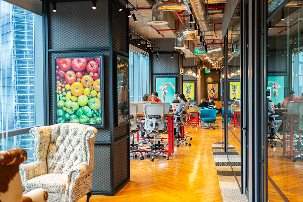 verizon media singapore office cool colourful space