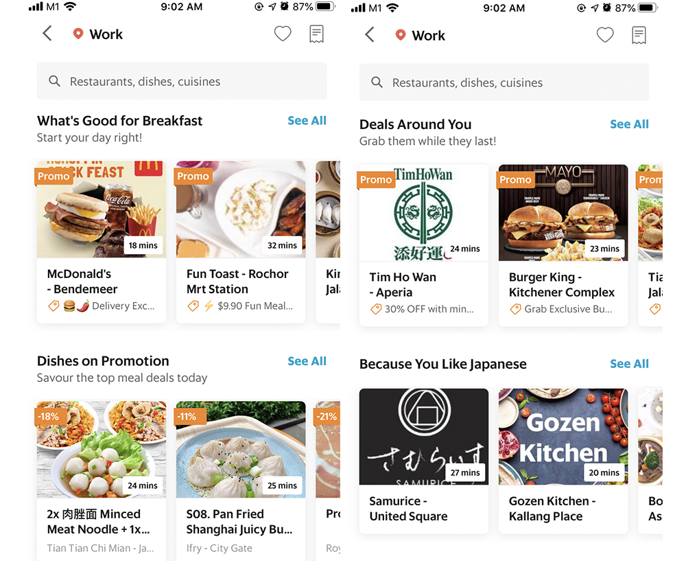 Recommendations on the GrabFood home page