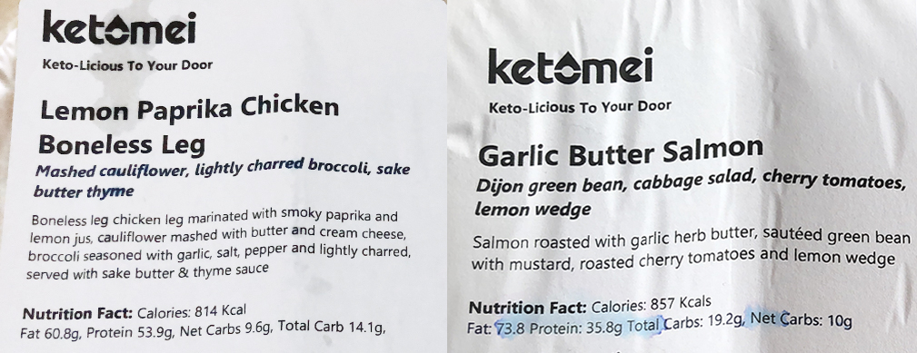 Ketomei Keto Meal Plan Singapore Nutritional Facts