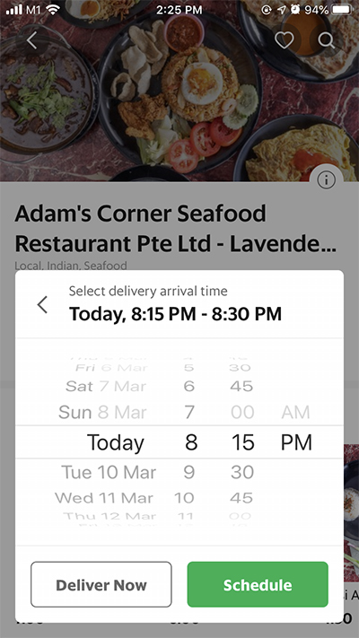 GrabFood features: schedule an order for later