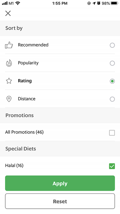 Filter your search by recommended, popularity, user rating, distance, promotions and halal options
