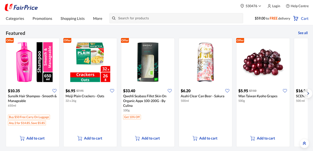 Sites to buy groceries online in Singapore: FairPrice