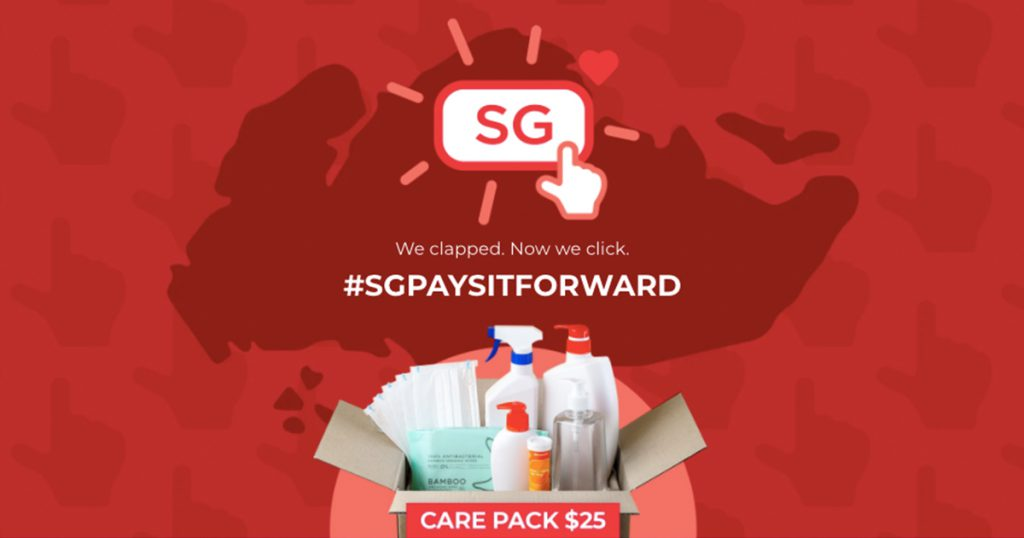 #SGPAYSITFORWARD with care packs for the needy
