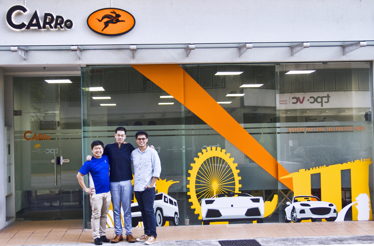 Carro co-founders Aditya Lesmana, Aaron Tan and Kelvin Chng