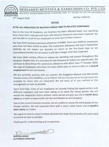 mustafa centre letter to employees