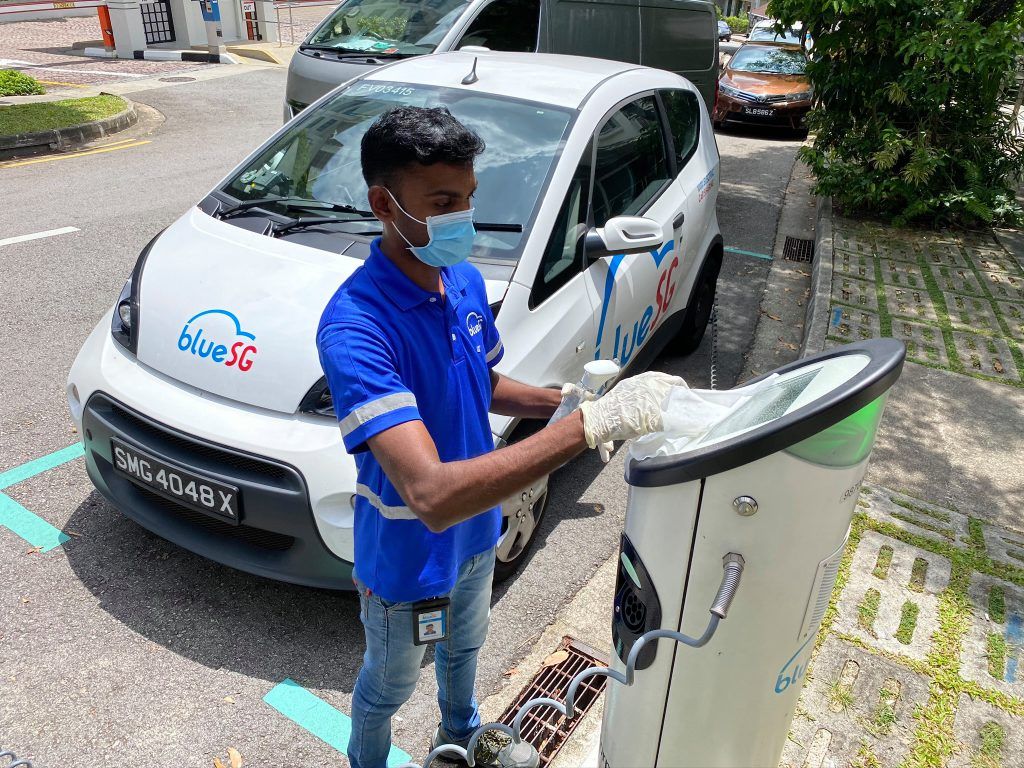 bluesg ev car sharing singapore