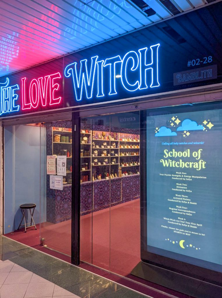 Exterior of The Love Witch store owned by Bambi
